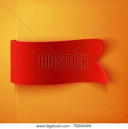 Red realistic blank detailed curved paper banner