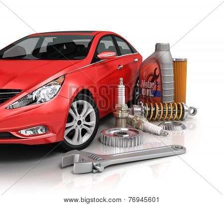 Auto Parts With Beautiful Car.