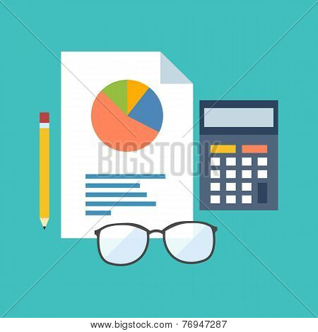 Accounting Concept. Flat Design Stylish.