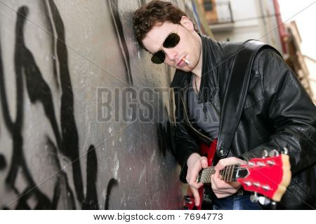 Smoking Cigarette Rock Leather Boy Playing Guitar