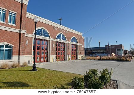 FERGUSON, MO/USA - NOVEMBER 25, 2014: Fire station and police buildings in the aftermath of riots.