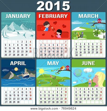 Calendar 2015 Six Months of New Year