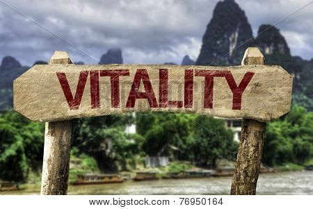 Vitality sign with a forest background