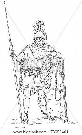 vector - Roman soldier, legionnaire ,isolated on background