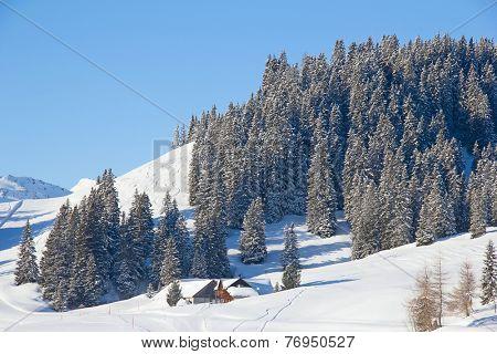 Slope on the skiing resort Flumserberg. Switzerland