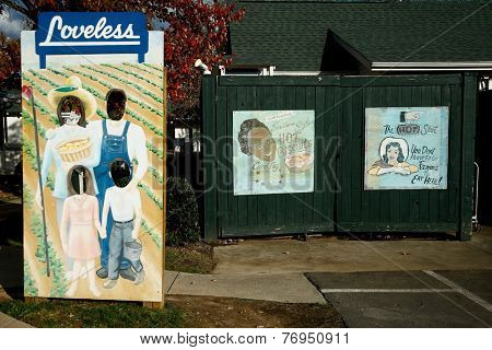 NASHVILLE, TN-NOV 6, 2014: Signage at The Loveless Motel and Cafe in southwest Nashville, Tennessee on Highway 100. Known for southern style cooking and its biscuits, country ham and red-eye gravy.