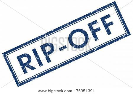 Rip Off Blue Square Stamp Isolated On White Background