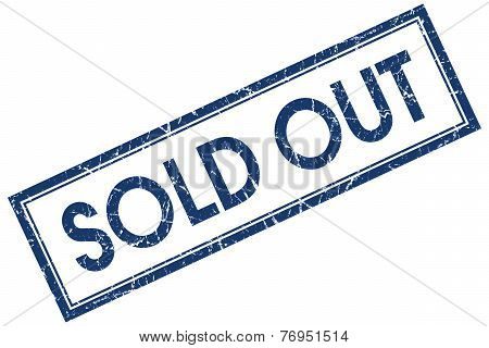 Sold Out Blue Square Stamp Isolated On White Background