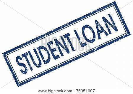 Student Loan Blue Square Stamp Isolated On White Background