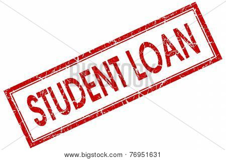 Student Loan Red Square Stamp Isolated On White Background