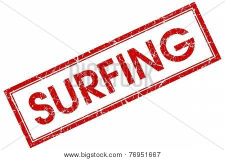 Surfing Red Square Stamp Isolated On White Background