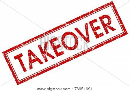 Takeover Red Square Stamp Isolated On White Background