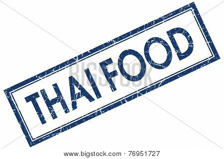 Thai Food Blue Square Stamp Isolated On White Background