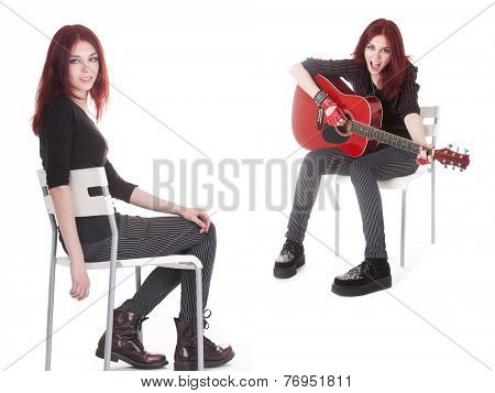 sitting girl with a guitar isolated