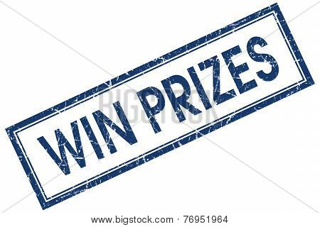 Win Prizes Blue Square Stamp Isolated On White Background