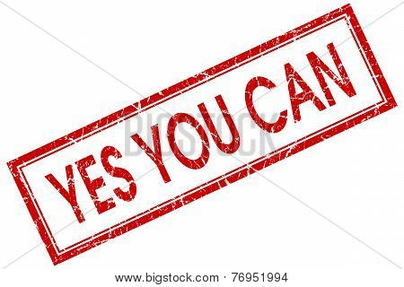 Yes You Can Red Square Stamp Isolated On White Background