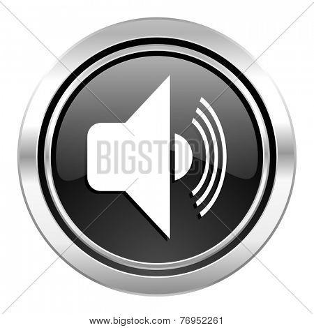 volume icon, black chrome button, music sign