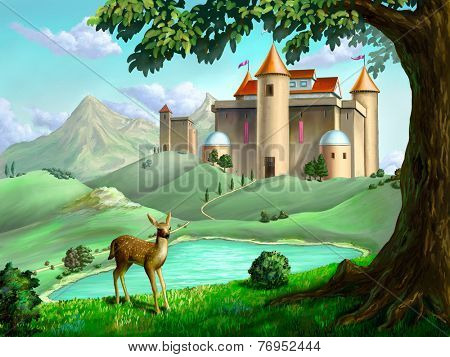 Castle in a fairy tale landscape. Digital illustration.