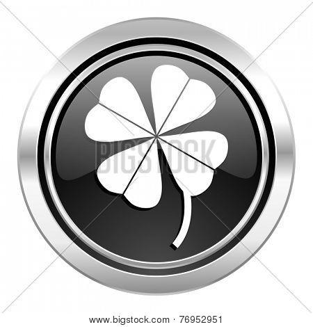 four-leaf clover icon, black chrome button