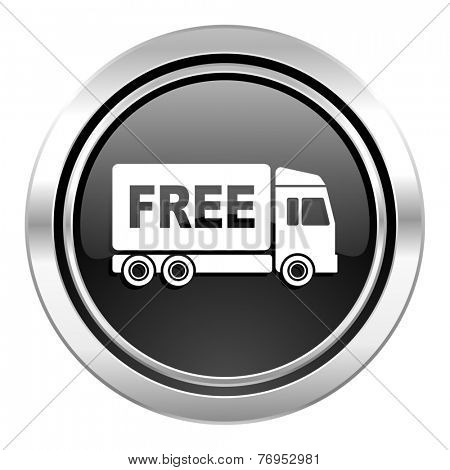 free delivery icon, black chrome button, transport sign