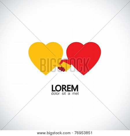 Abstract Handshake Concept Vector Icon Of Love Of Hearts