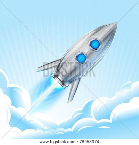 Retro Rocket In Sky