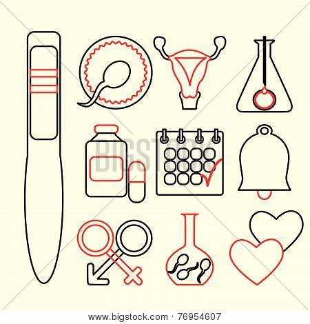 Line design, vector set of fertility icons isolated on white background