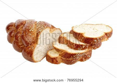 Long Loaf Sliced Bread. Isolated On White