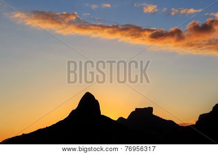 Sunset Lagoon Rodrigo De Freitas (lagoa), Silhouette Of Mountain, Rio De Janeiro