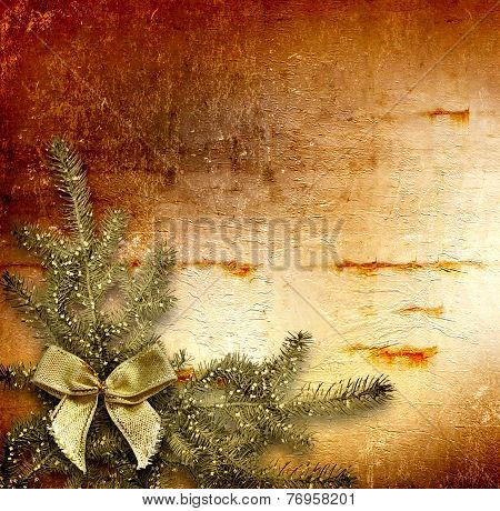 Festive Invitation Or Greeting With Firtree And Bow