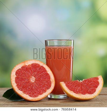Grapefruit Juice And Fresh Grapefruits Fruits In Summer