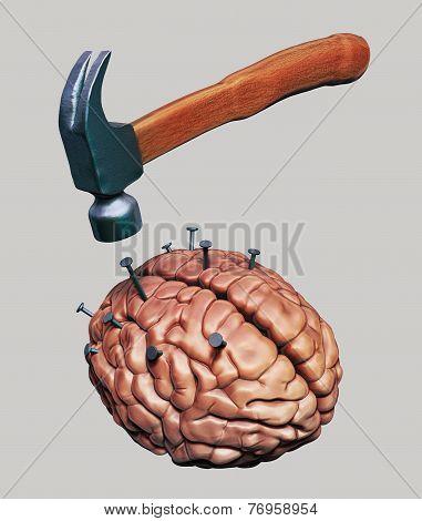 Hammer Drives Nails Into Human Brain