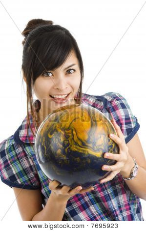 Pretty Woman With Bowling Ball