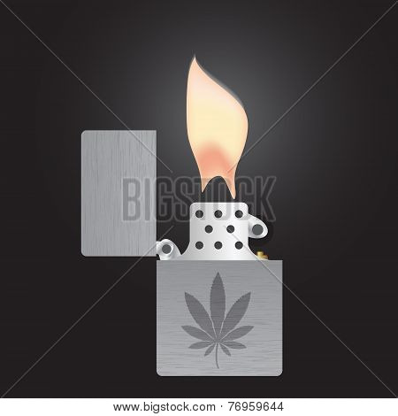 Silver Cigarette Lighter And Flame Isolated Eps10