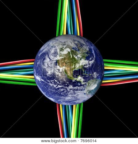 Connected World - Colored Cables Wired To The Earth Globe