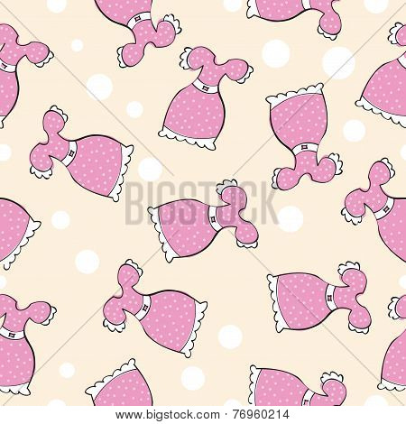 Seamless Vector Pattern With Doodle Pink Dresses