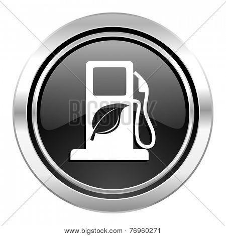 biofuel icon, black chrome button, bio fuel sign