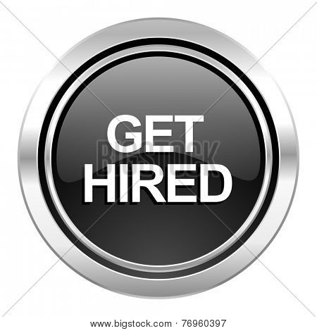 get hired icon, black chrome button