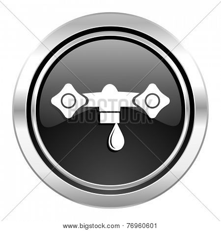 water icon, black chrome button, hydraulics sign