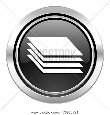layers icon, black chrome button, gages sign
