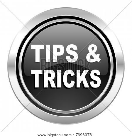 tips tricks icon, black chrome button