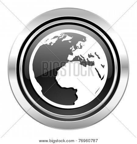 earth icon, black chrome button, world sign