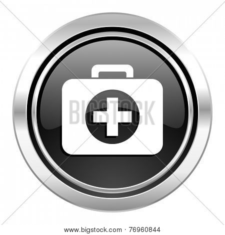 first aid icon, black chrome button, hospital icon, black chrome button