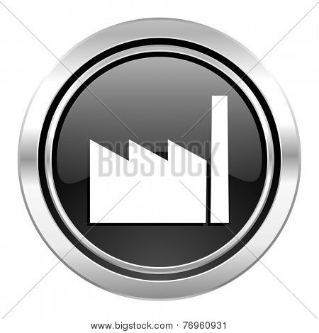 factory icon, black chrome button, industry sign, manufacture symbol