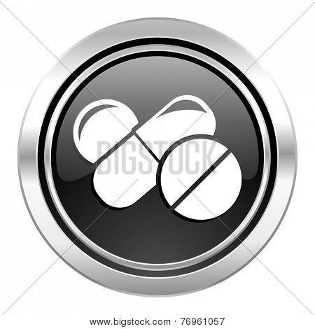 medicine icon, black chrome button, drugs symbol, pills sign