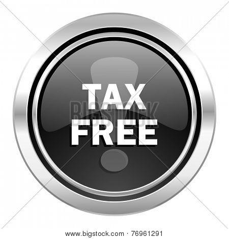 tax free icon, black chrome button