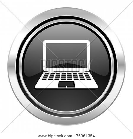 computer icon, black chrome button, pc sign