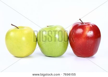 Three apples in a raw
