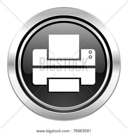 printer icon, black chrome button, print sign