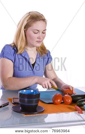 Beautiful Girl Preparing Food